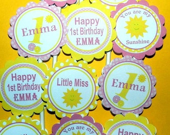 You Are My Sunshine Cupcake Toppers -You Are My Sunshine Birthday Party Decorations-You Are My Sunshine