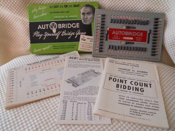 Auto Bridge Vintage 1950s Game - Teach Yourself or Play Alone - with Charles Goren, World Bridge Champion