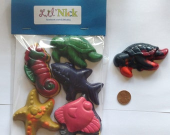 Under the Sea Crayon Pack - (5 crayons) - Turtle, Seahorse, Starfish, Shark, Fish