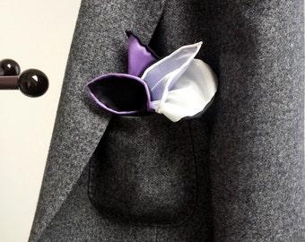 Multi-Color SILK POCKET SQUARE in White, Black, Silver, Purple, Lilac