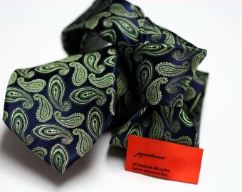 Silk Tie (3inch) in Paisleys with Green and Navy
