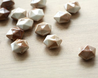 10pcs of  Brown Hexagon Spray Painted Acrylic Beads - 19 mm