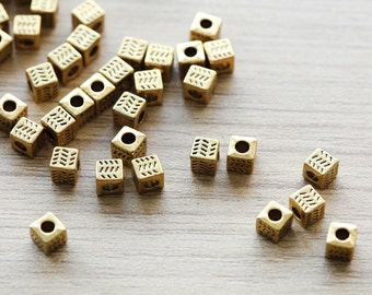 40 pcs of Antique Gold Cube Tibetan Style Beads - 4.5 mm