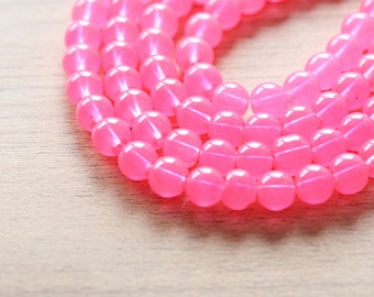 50 pcs of Dyed Round Pink Glass Beads - 8 mm