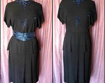 1940s BEADED DRESS // fits M-L // Peplum // Vintage 40s