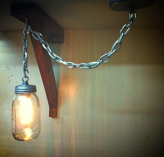 Rustic Industrial Modern Handmade Mason Jar Chandelier Rustic: CHAIN MASON- Rustic Mason Jar Pendant Light Made With Raw