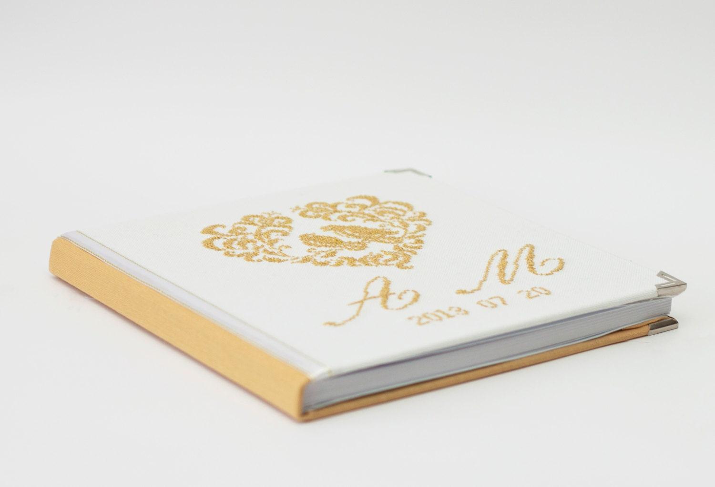 Livre D 39 Or Personnalis Pour Mariage Recouvert De Lin Orn