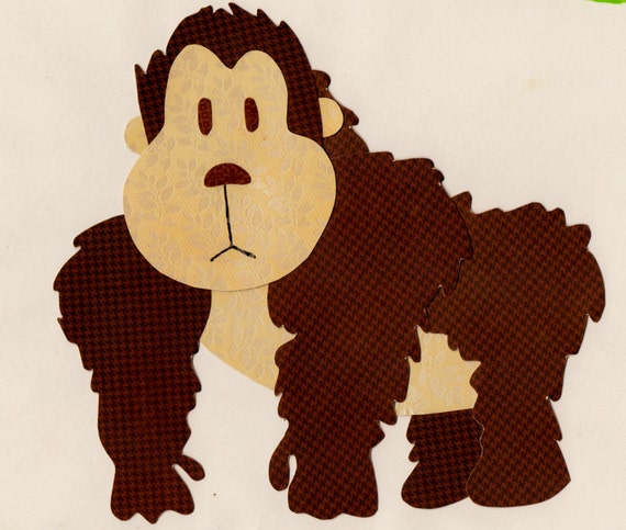 Jungle Animal , Zoo Animal, Gorilla Applique Template