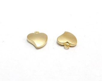 Heart charm, T3-P3, 20 pcs, 9x8mm, 2mm thick, Matte gold plated brass, Jewelry making, BY11-03