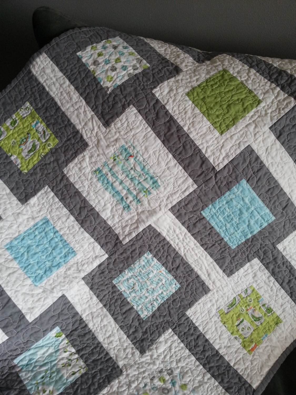 Handmade Baby Quilt With A Modern Square Design In Blues