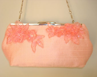 Free US Shipping Bridal Wedding Bridesmaids' Evening Prom Pale Pink Dupioni Silk Flowers Clutch Purse Bag