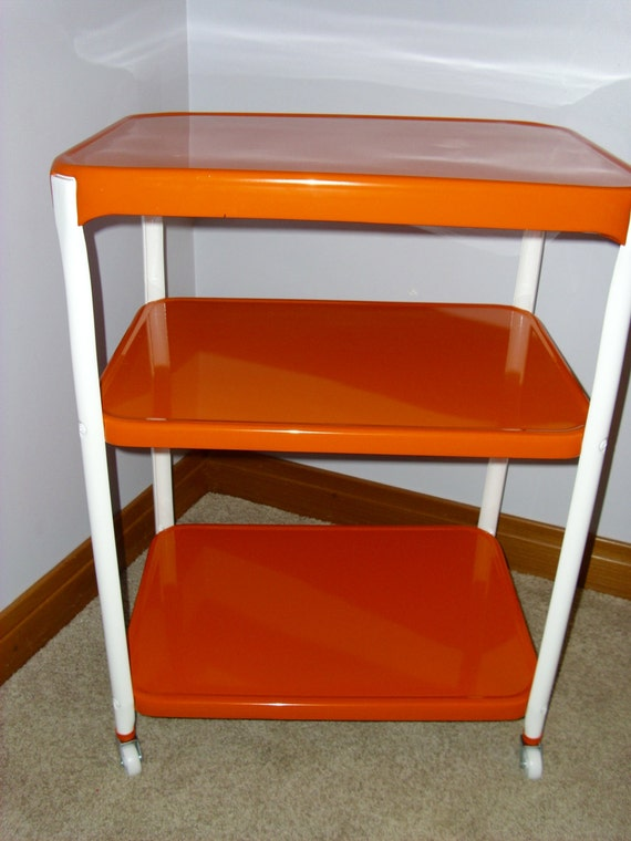 Vintage Orange Restored Cosco 3 Tier Utility Cart