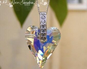 Swarovski pendant, Swarovski heart pendant necklace, Sterling Silver chain