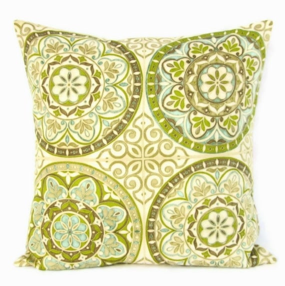 Sale Lime Green Pillow Cover Teal Taupe Geometric Home Decor