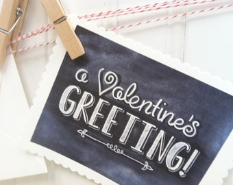 Printable Chalk Art Valentines Day Card