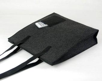 Felt Purse Large Totes Bag Shoulder Bag Shopping Bag Hand Bag Messenger Shoulder Bag Weekend with Black Ribbon E1757