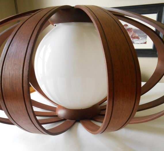 Danish modern bent walnut ceiling pendant light fixture mid for Danish modern light fixtures