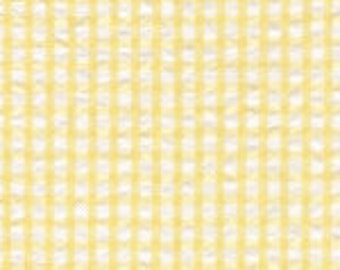 Yellow and White Check Fabric Finders Seersucker