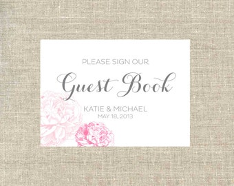 Wedding Guest Book Sign / Guest Book Sign for Weddings and Events / Party Decoration / Peony GuestBook Sign
