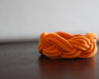 Jersey Fabric Braided Bracelet in Halloween Orange