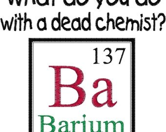 Periodic applique etsy periodic table element joke design dead chemist embroidery design barium urtaz Image collections