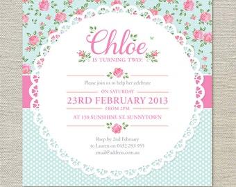 Shabby Chic BIrthday Invitations