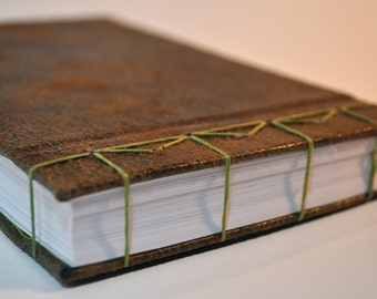 Brown Japanese Stab Bound Book with Green Stitching and Matching Green Interior