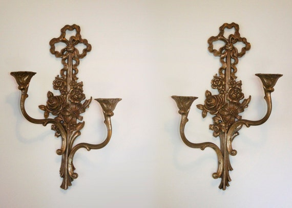 Gold Tone Candle Wall Sconces : Pair of gold tone Syroco wall sconce candle by MayberryGraphics