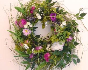 Spring Summer Custom Floral Door Wreath Wreaths