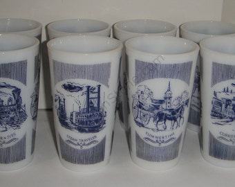 CURRIER & IVES Glasses Milk Glass Made By Hazel Atlas Glass Co