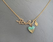 Love Heart Necklace -  Gold Mint Necklace - LaLiLaJewelry