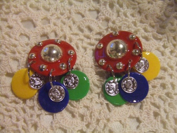 mam earrings vintage mam earrings in bold colors of yellow blue and 9221