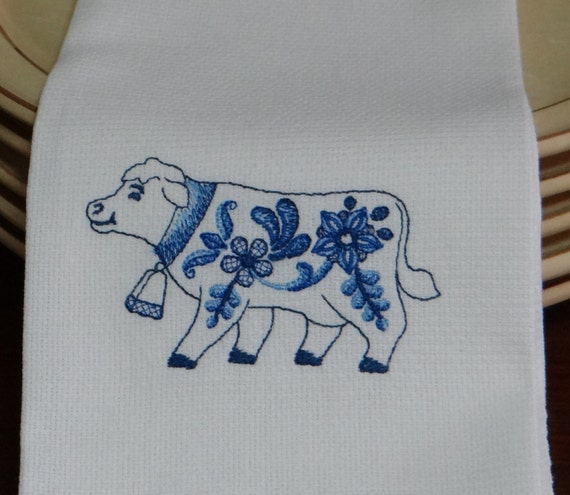 Delft Blue Cow Cotton Huck Kitchen Towel
