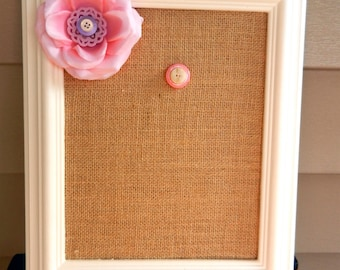 "Pretty in Pink Valentine's Day Burlap Magnetic Board -8"" x 10""-Natural Burlap Red Burlap Magnet Memo Board-Framed Message Board with Magnets"