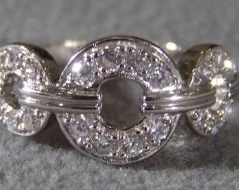 Vintage Sterling Silver  Multi Round Cubic Zirconia Wedding  Band Ring, Size  9      W