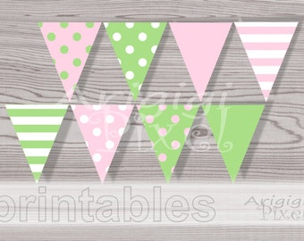 Birthday Party, Baptism, Babyshower Banner, Pink Green Polka Dot, Printable Pennant, DIY Flag Garland PDF Download