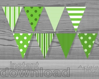 green party banner printable party decoration polka dot striped pennant instant download