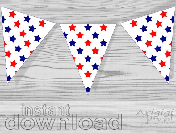 Fourth July - red and blue star printable pennant banner