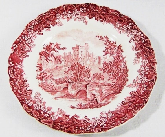 Vintage 1940s J Amp G Meakin Red Romantic England 10