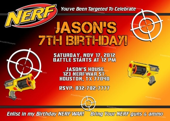 Items similar to Personalized Nerf Boy Birthday Party Invitation and Thank You Cards DIY (self ...