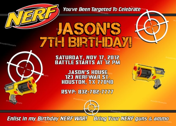 Free Printable Nerf Birthday Invitations ~ Items similar to personalized nerf boy birthday party invitation and thank you cards diy self