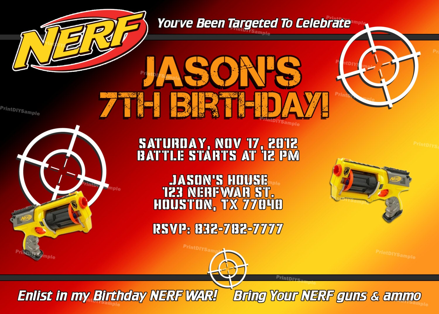 Invaluable image pertaining to nerf gun party invitations printable