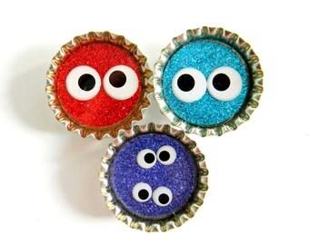 Magnet Set Monster Eyes Glitter Resin Filled Bottle Cap Magnets Set of 3