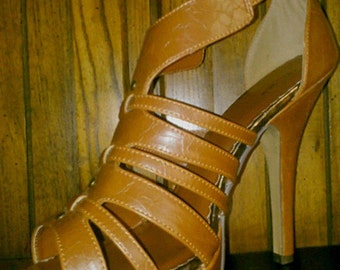 Leather Brown High Heels Size 9