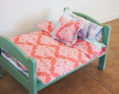 DOLL BED, Personalized Wooden Ameican Doll Bed, Cotton Doll Bedding, Infant Photo Prop