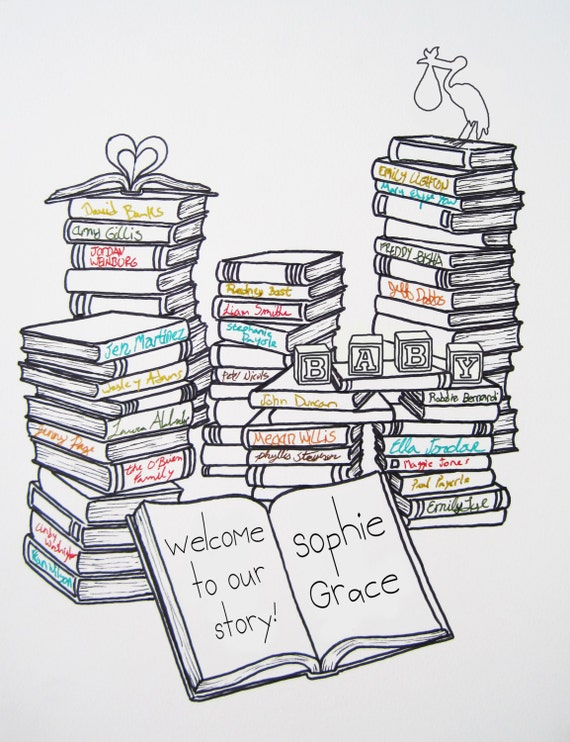 Book Themed Baby Shower Guestbook | 15-40 guests | Nursery Art | Baby's Room | Library Theme Shower | Guestbook Alternative