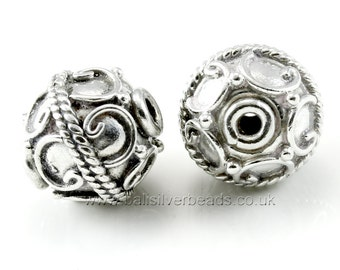 Two 10 mm Bali Sterling Silver Beads  , handmade in Bali, Indonesia