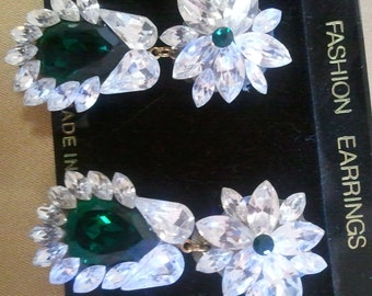 Dangling Emerald Swarovski Crystal Earrings