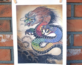 "Dragon Giclee Tribal Multicolor Wall Art Print on Canvas  8.5""X11"""