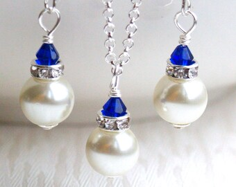 Ivory Swarovski Pearl Bridesmaid Gift Ivory Royal Blue Bridesmaid Jewelry set necklace & earrings Royal Blue Jewelry Set Bridesmaids Jewelry